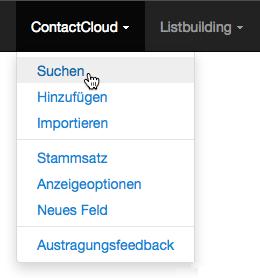 Menü: ContactCloud