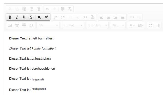 Die Funktionen des HTML-Editors: dritter Menüblock