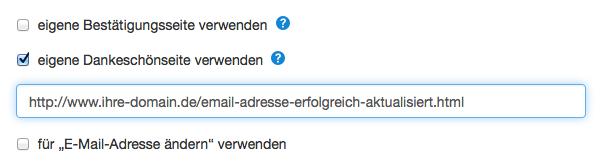 E-Mail-Adresse ändern: Double-Opt-in-Prozess Dankeseite