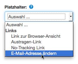 E-Mail-Adresse ändern: Platzhalter einfügen