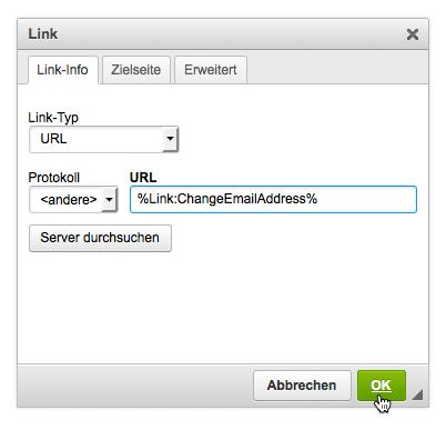 E-Mail-Adresse ändern: Platzhalter in HTML Teil einfügen
