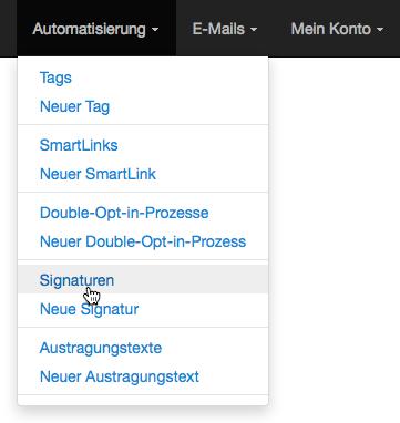 E-Mail-Adresse ändern: Signaturen