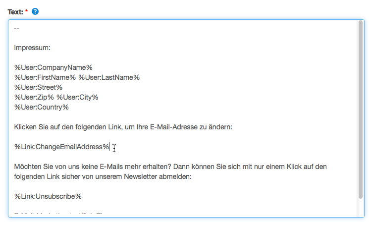 E-Mail-Adresse ändern: Signatur Link