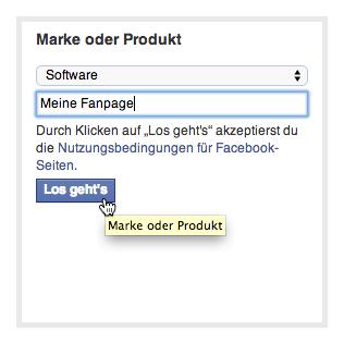 Facebook Fanpage erstellen: Produkt auswählen