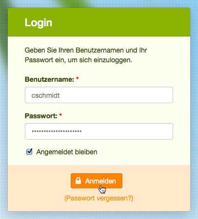 Ihr erstes Login: Passwort einfügen
