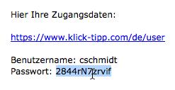 Ihr erstes Login: Passwort markieren