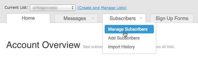 Kontakte exportieren AWeber: Manage Subscribers