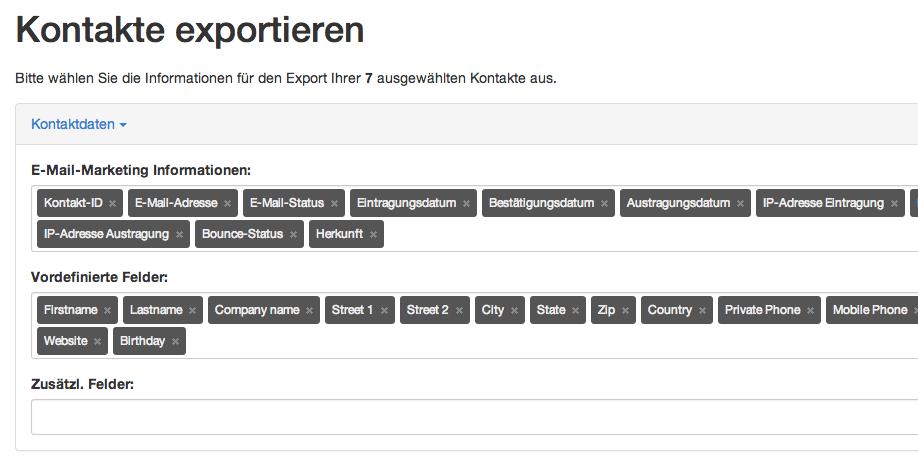 Kontakte exportieren: Informationsfelder