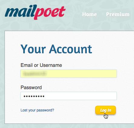 Kontakte exportieren MailPoet: Login