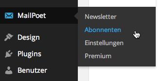 Kontakte exportieren MailPoet: Abonnenten