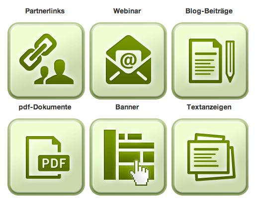 Partnerprogramm Anmeldung - Online Geld verdienen: Werbemittel