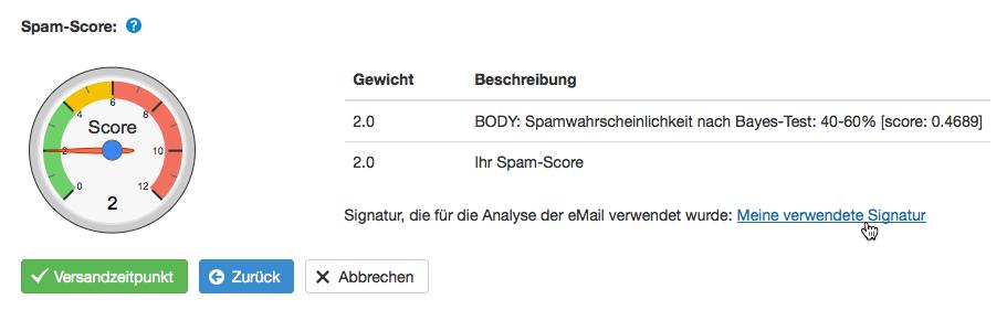 Spam-Score Analyse mit verwendeter Signatur