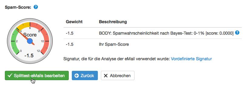 Spam-Score der Splittest-E-Mail überprüfen