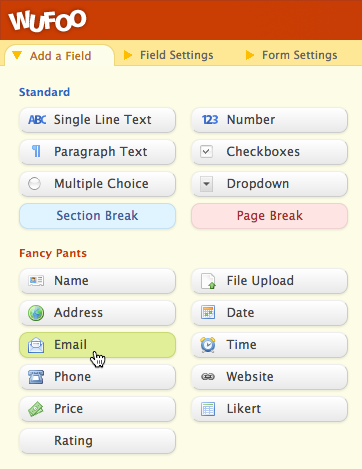Wufoo: Neues E-Mail-Feld