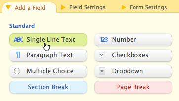 Wufoo: Textzeile in Formular einfügen